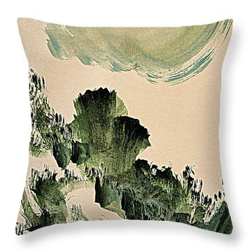 The Green Cliffs With A Cloud Throw Pillow