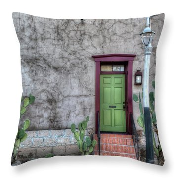 The Green Door Throw Pillow by Lynn Geoffroy