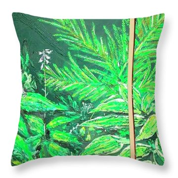 Throw Pillow featuring the painting The Green Flower Garden by Darren Cannell