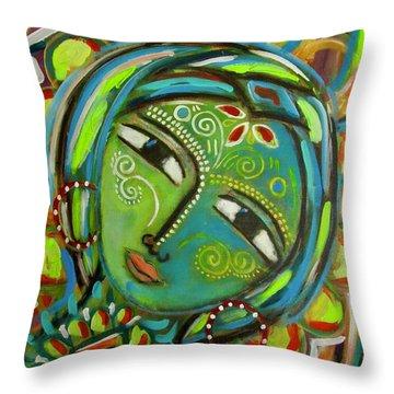 The Green Goddess  Throw Pillow