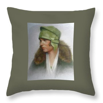 The Green Hat Throw Pillow by Janet McGrath