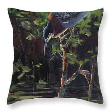 The Green Heron Throw Pillow