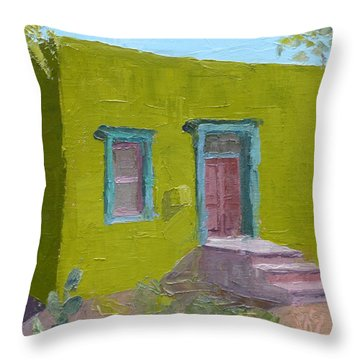 The Green House Throw Pillow by Susan Woodward