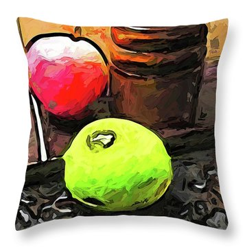 The Green Lime And The Apple With The Pepper Mill Throw Pillow
