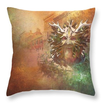 The Green Man Cometh Throw Pillow
