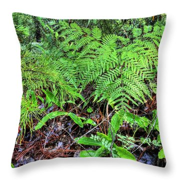 The Green Of The Forest Floor Throw Pillow