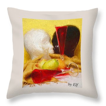 Throw Pillow featuring the digital art The Green Pear by Elf Evans