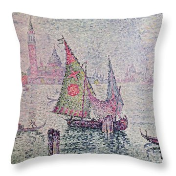 The Green Sail Throw Pillow by Paul Signac
