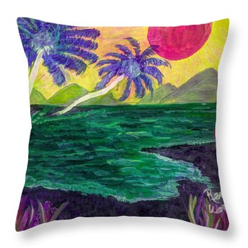 The Green Seas Of Fantasy  Throw Pillow by Renee Michelle Wenker