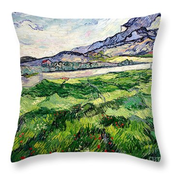 The Green Wheatfield Behind The Asylum Throw Pillow by Vincent van Gogh