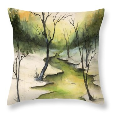The Greenwood Throw Pillow by Terry Webb Harshman