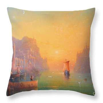 The Grey Havens. The Gulls Lament.  Oil On Canvas Throw Pillow by Joe  Gilronan