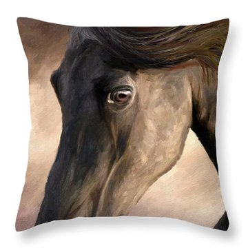 Throw Pillow featuring the painting The Grey by James Shepherd