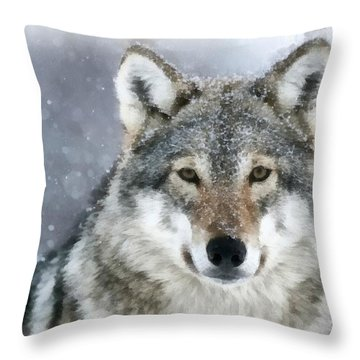 The Grey Wolf Throw Pillow