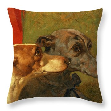 The Greyhounds Charley And Jimmy In An Interior Throw Pillow by John Frederick Herring Snr