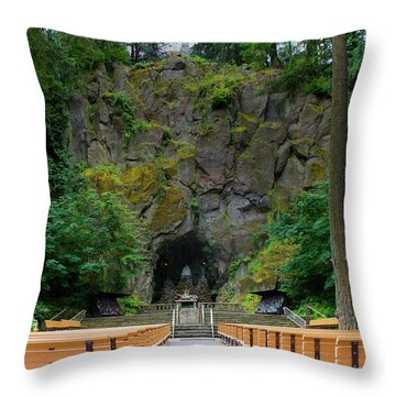 The Grotto, National Sanctuary Of Our Sorrowful Mother Throw Pillow