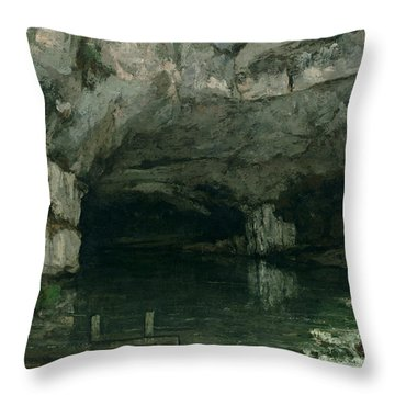 The Grotto Of The Loue Throw Pillow by Gustave Courbet