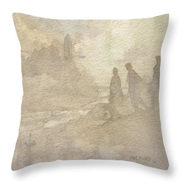 The Group Comes Out Of The Wilderness Throw Pillow
