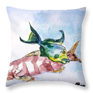 Throw Pillow featuring the painting The Grouper And Friend by Gary Smith