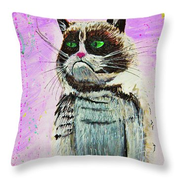 The Grumpy Cat From The Internets Throw Pillow by eVol i