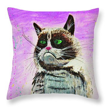 Throw Pillow featuring the painting The Grumpy Cat From The Internets by eVol i