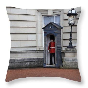 The Guard At Buckingham Palace Throw Pillow