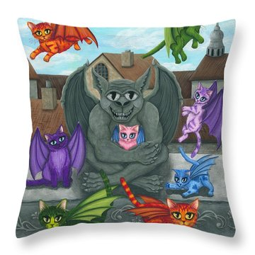 The Guardian Gargoyle Aka The Kitten Sitter Throw Pillow