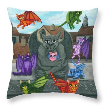 Throw Pillow featuring the painting The Guardian Gargoyle Aka The Kitten Sitter by Carrie Hawks