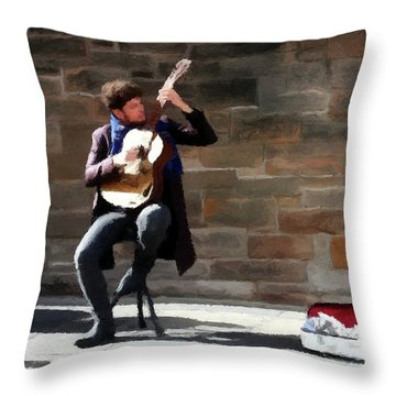 Throw Pillow featuring the painting The Guitarist by David Dehner