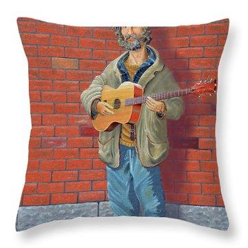 The Guitarist Throw Pillow