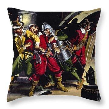 The Gunpowder Plot Throw Pillow by Ron Embleton