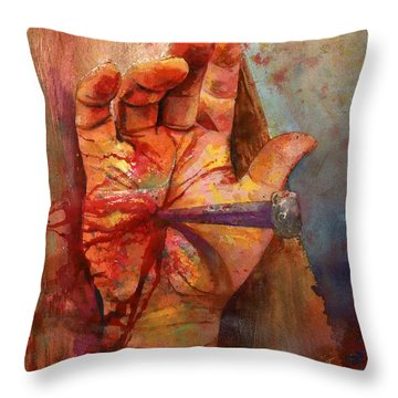 The Hand Of God Throw Pillow by Andrew King