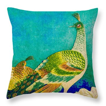The Handsome Peacock - Kimono Series Throw Pillow