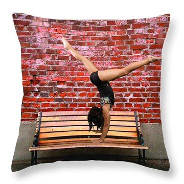 The Handstand Throw Pillow by Robert Hebert