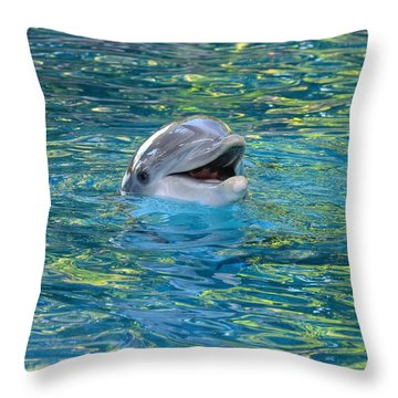 The Happy Dolphin Throw Pillow
