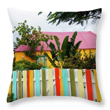 Throw Pillow featuring the photograph The Happy House, Island Of Curacao by Kurt Van Wagner