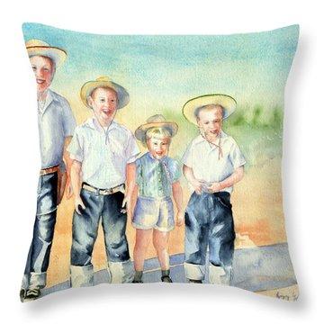 The Happy Wranglers Throw Pillow