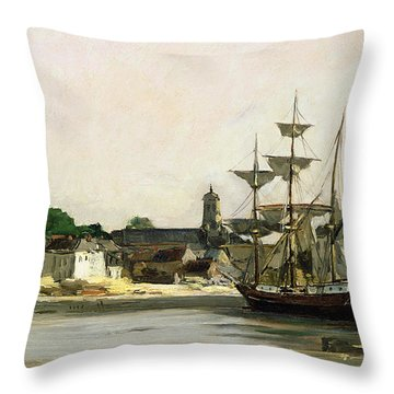 The Harbour At Honfleur Throw Pillow by Karl Pierre Daubigny