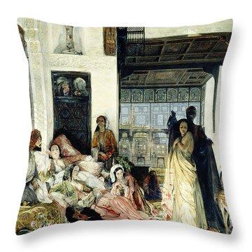 The Harem Throw Pillow by John Frederick Lewis