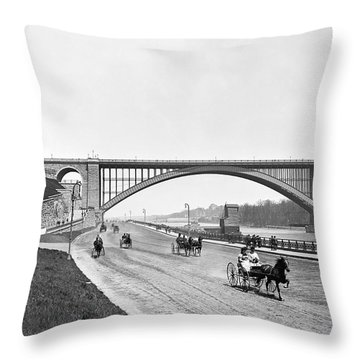 The Harlem River Speedway Throw Pillow by William Henry jackson