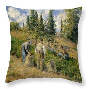 The Harvest, Pontoise, 1881  Throw Pillow by Camille Pissarro