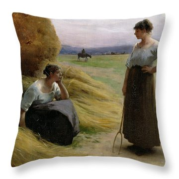 The Harvesters Throw Pillow by Henri Lerolle