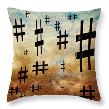 Throw Pillow featuring the digital art The Hashtag Storm by Andee Design