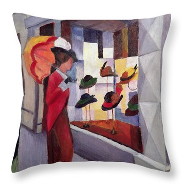The Hat Shop Throw Pillow by August Macke