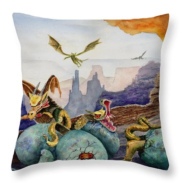 Throw Pillow featuring the painting The Hatchlings by Sam Sidders