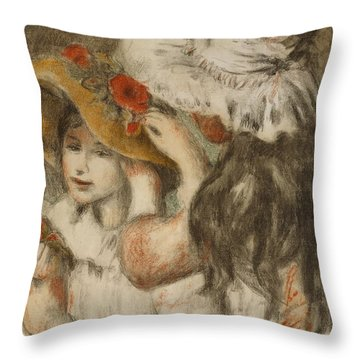 The Hatpin Throw Pillow by  Pierre Auguste Renoir