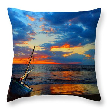 The Hawaiian Sailboat Throw Pillow