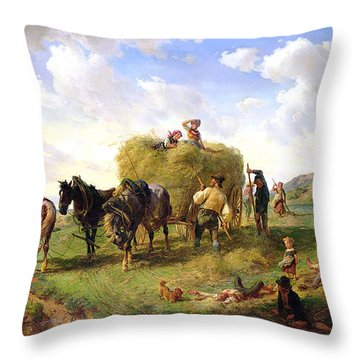 The Hay Harvest Throw Pillow by Hermann Kauffmann