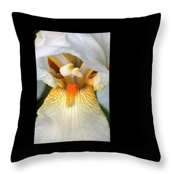 Throw Pillow featuring the photograph The Heart Of A Bearded Iris by Sheila Brown