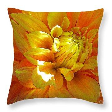 The Heart Of A Dahlia Throw Pillow